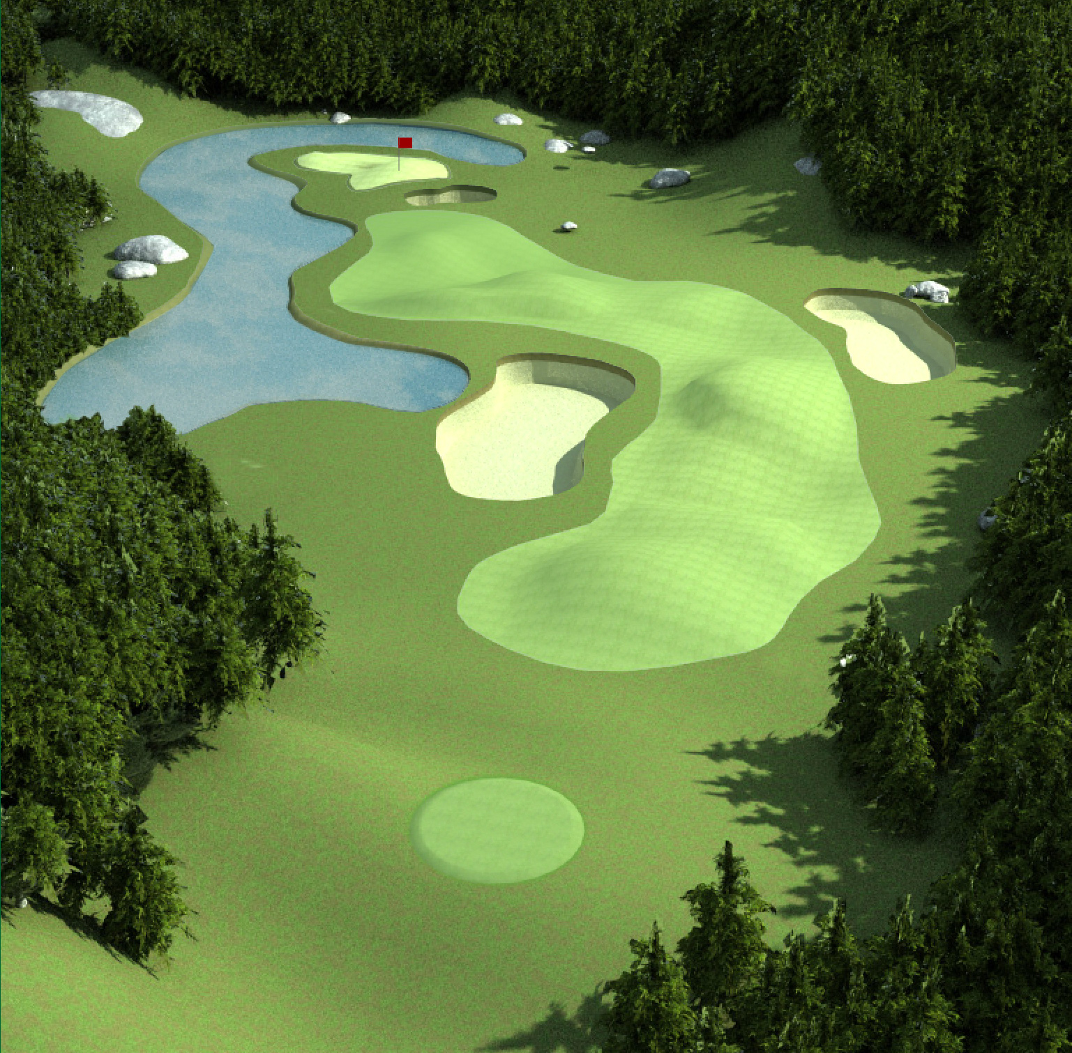 Low-Poly 3D Golf Course Environments